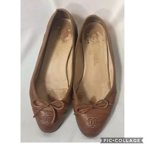 Chanel Italy Brown Leather CC Ballet Flats 37